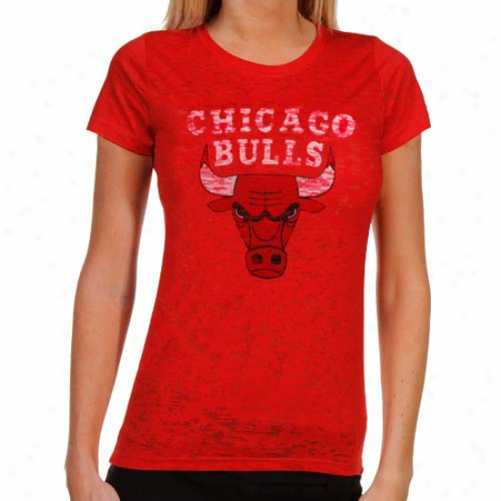 Chicago Bulls Ladies Sheer Pride Burnout Premium T-shirt - Red