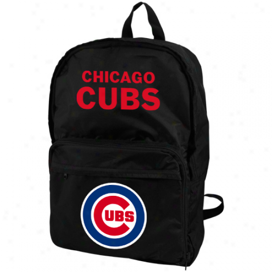 Chicago Cubs Black Foldaway Backpack
