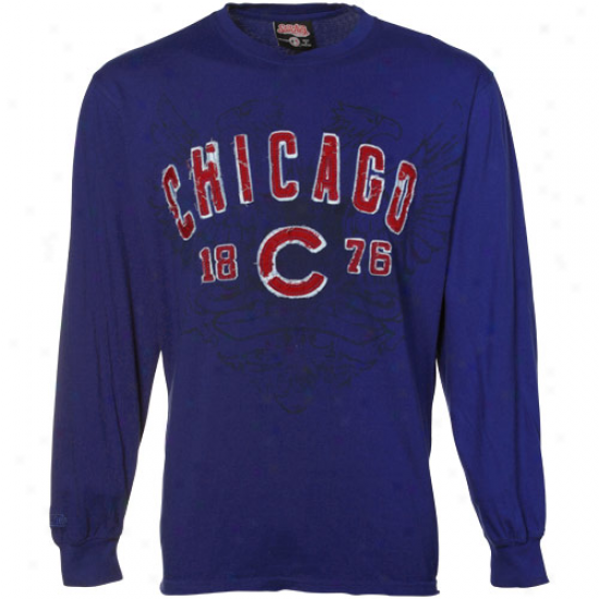 Chicago Cubs Blue Distressed Applique Fashion Long Sleeve T-shirt