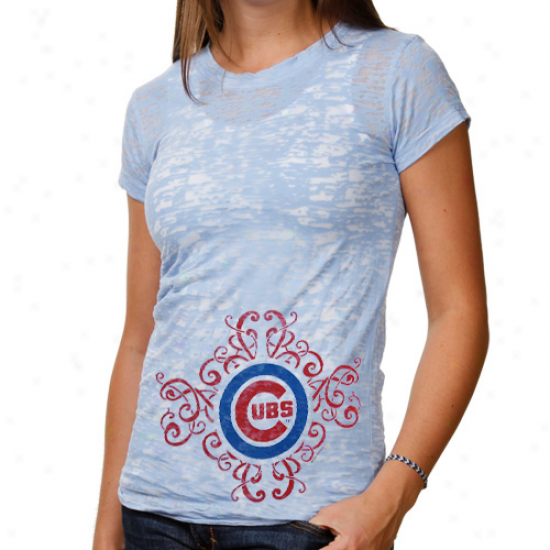 Chicago Cubs Ladies Scroll Burnout Premium Crew T-shirt - Light Blue