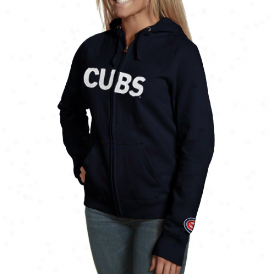 Chicago Cubs Navy Blue Team Spirit Full Zip Hoodie Sweatshirt
