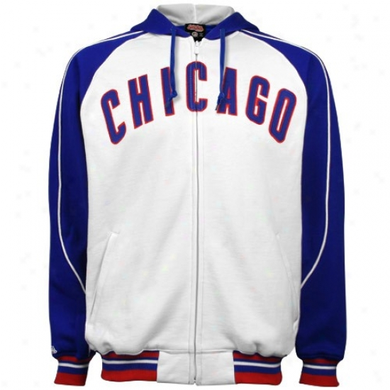 Chicago Cubs White Heavyweight Full Zip Hoody Sweatshirt