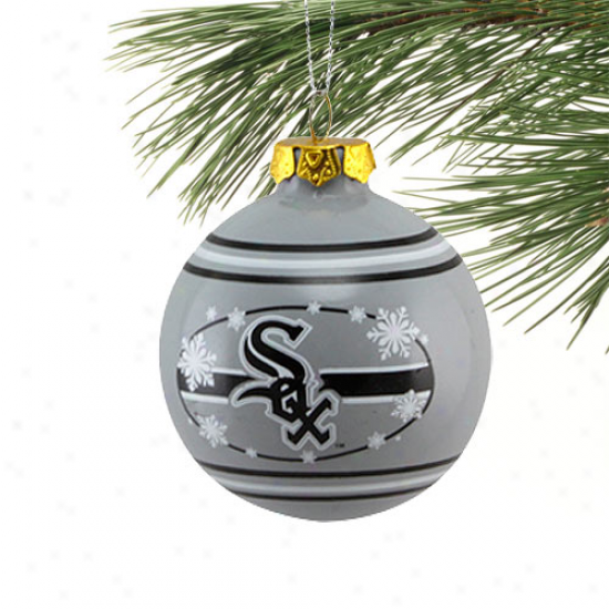 Chicago White Sox White Snowflake Glass Ball Ornament