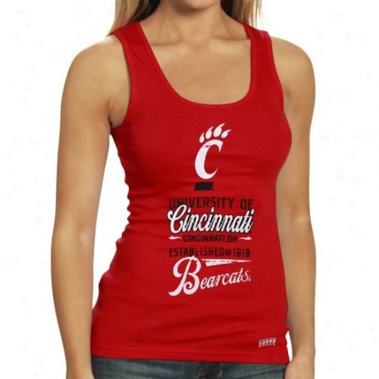 Cincinnati Bearcats Ladies Red Distressed Boy Beater Tank Top