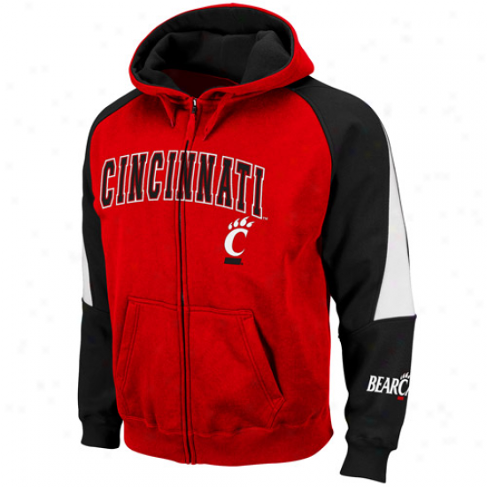 Cincinnati Bearcats Red-black Playmaker Full Zip Hoodie Sweatshirt