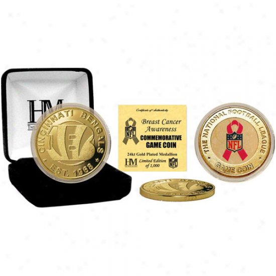 Cincinnati Bengals 24kt Gold Breast Cancer Awareness Commemorative Game Coin