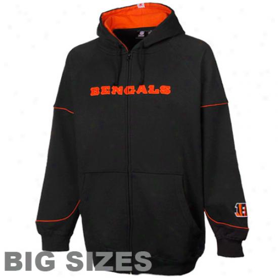Cincinnati Bengals Black Overtime Victory Full Zip Big Sizes Hoodie Sweatshirt