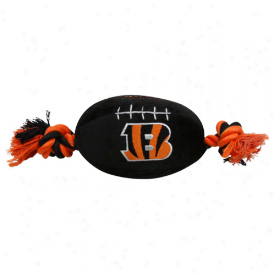 Cincinnati Bengals Black Plush Football Dog Toy