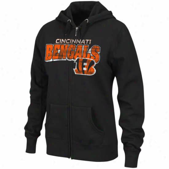 Ckncinnati Bengals Ladies Black Football Classic Iii Full Zip Hoodie Sweatshirt