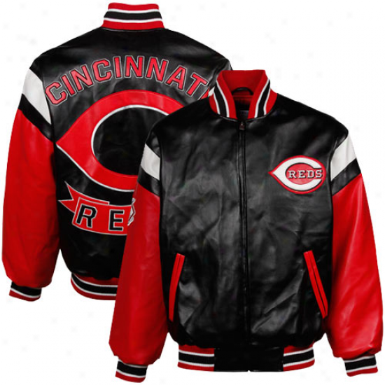 Cincinnati Reds Black Pleather Varsity Full Zip Jacket