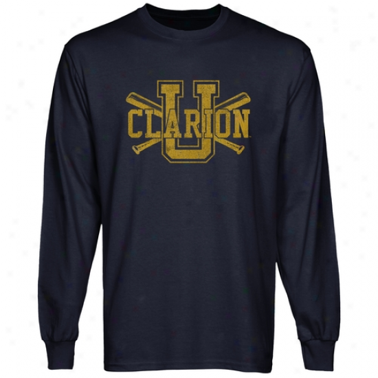 Clarion Golden Eagles Crossed Sticks L0ng Sleeve T-shirt - Navy Blue