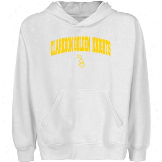 Clarkson Golden Knights Youth White Logo Arch Pullover Hoody