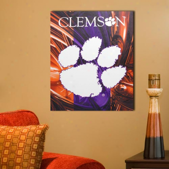 Clemson Tigers 11'' X 14'' Abstract Canvas Print