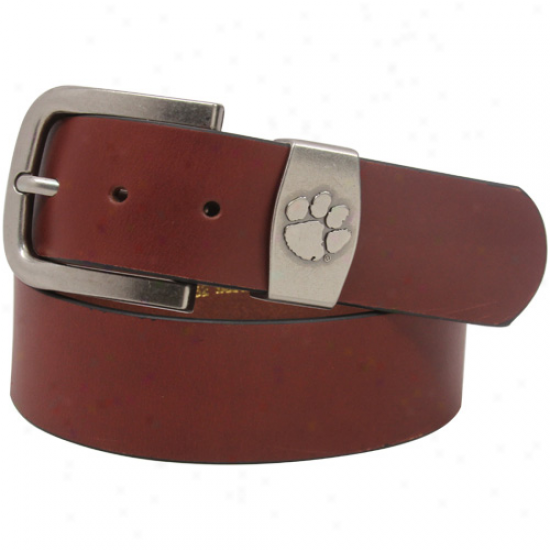 Clemson Tigers Brown Keeper Leather Belt