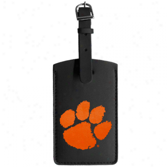Clemson Tigers Colored Logo Leqther Luggage Tag