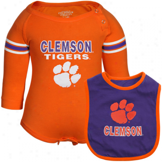 Clemson Tigsrs Infant Bleacher Creeper & Bib Set - Orange-purple