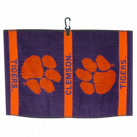Clemson Tigers Purple Jacquard Woven Golf Towel