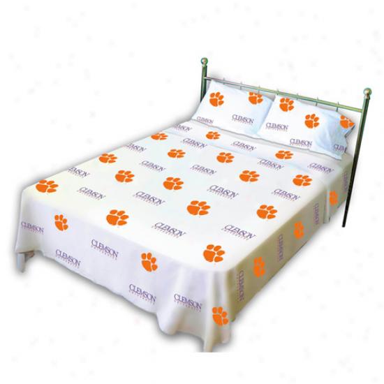 Clemson Tigers Whitr Collegiate Sheet Set