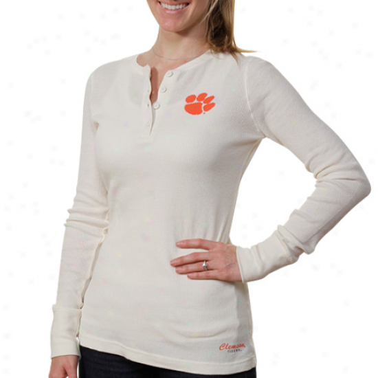 Clemson Tjgers Womens Shadow Thermal T-shirt - Cream