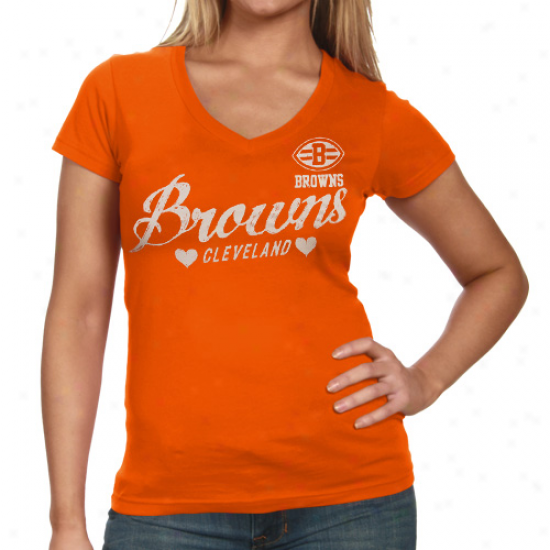 Cleveland Browns Heart Script Baby Jersey T-shirt - Orange