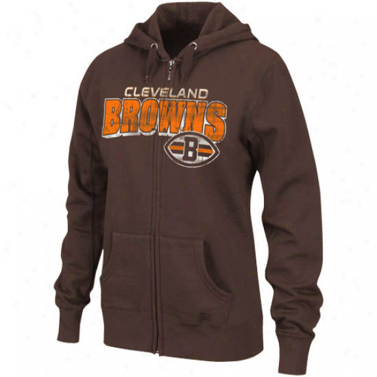 Cleveland Browns Ladies Brown Fotball Classic Iii Full Zip Hoodie Sweatshirt