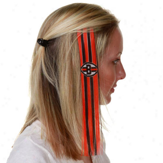 Cleveland Browns Ladies Orange-brown Sports Extension Hair Clips