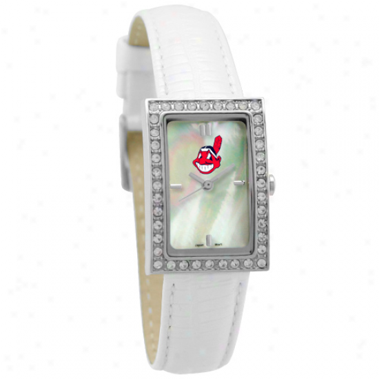 Cleveland Indians Ladieq Allure Mark W/white Leather Band