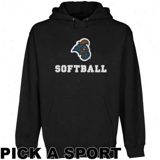 Coastal Carolina Chanticleers Custom Sport Logo Applique Pullover Hoodie - Black