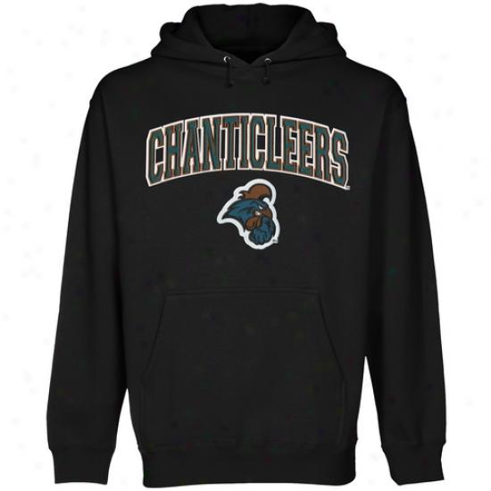 Cpastal Carolina Chanticleers Logo Arch Applique Pullover Hoodie - Black