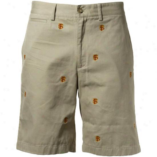 Colony Sportswear Florida State Seminoles (fsu) Khaki Cajpus Chino Logo Shorts
