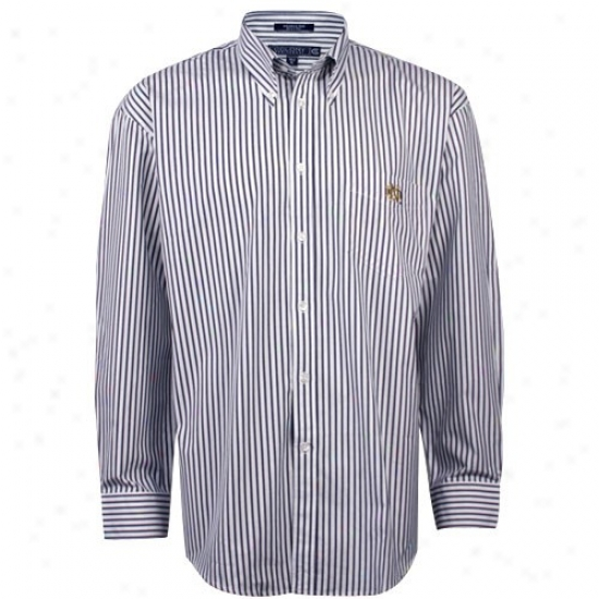Colony Sportswear Notre Dame Fighting Irish Blue Bengal Stripe Button-down Dress Shirt