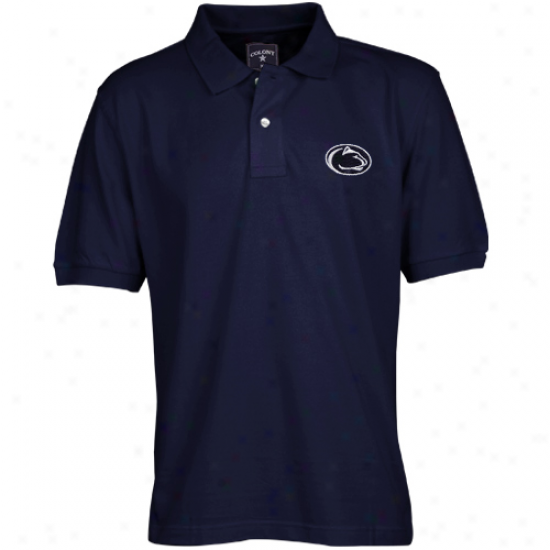 Colony Sportswear Penn State Nittany Lions Navy Blue Solid Pique Polo