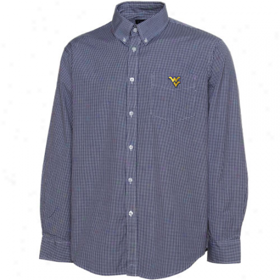 Colony Sportswear West Virginia Mountaineers Navy Blue Micro Check Long Sleeve Button-down Shlrt