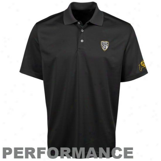 Colorado Buffaloes Black Pac-12 Conference Pique Performance Polo