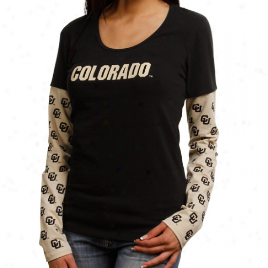 Colorado Buffaloes Ladies Grow ~ Down Double Layer Long Sleeve Premium T-shirt - Black/gold