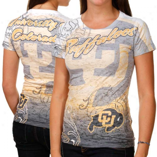 Colorado Buffaloes Ladies Shifty Mascot Burnout Premium T-shirt - White-gold