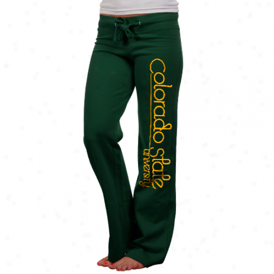 Colorado State Rams Ladies Green Rugby Fleece Pants