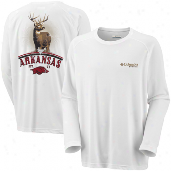 Columbia Arkansas Razorbacks Hunt Long Sleev Performance T-shirt - White