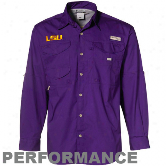 Columbia Lsu Tigers Purple Xtreme Bonehead Long Sleeve Button-up Performance Fishing Shirt