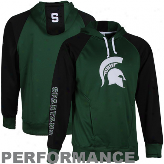 Columbia Michigan State Spartans Black-green Block & Tackle Performance Pullover Hoodie Sweatshirt