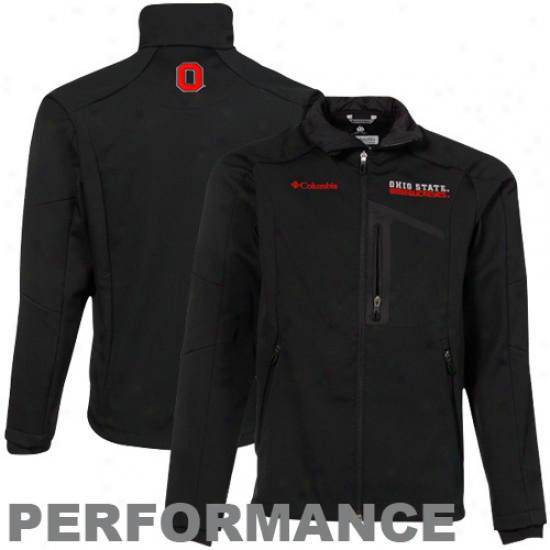 Columbia Ohio State Buckeyes Black Crag Mountain Softshell Comprehensive Zip Performance Jacket