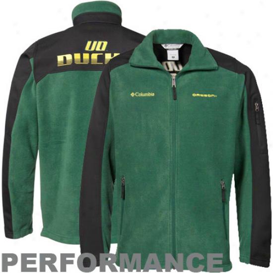 oClumbia Oregon Ducks Green-black Zone Blitz Full Zip Performance Jacket