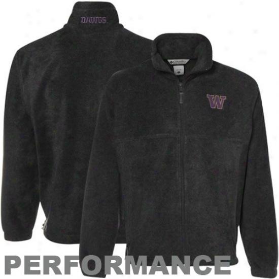 Columbia Washington Huskies Charcoal Flanker Ful iZip Performance Fleece Jacket