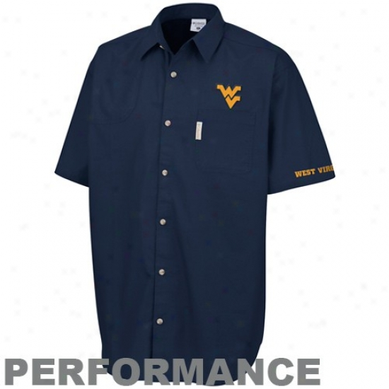 Columbia West Virginia Mountaineers Navy Blue White Wing Performance Button Down Polo