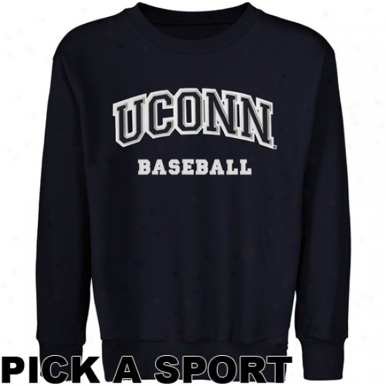 Connecticut Huskies Youth Custom Sport Arch Applique Crew Neck Fleece Sewatshirt - Navy Blue
