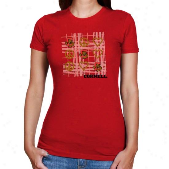 Cornell Full Red Lacies Red Tic-tac-toe Slim Fit Ts-hirt