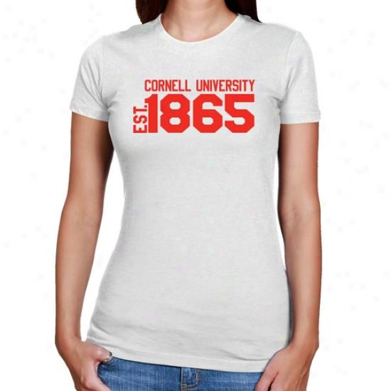 Cornell Big Red Ladies White Est. Date Slim Fit T-shirt