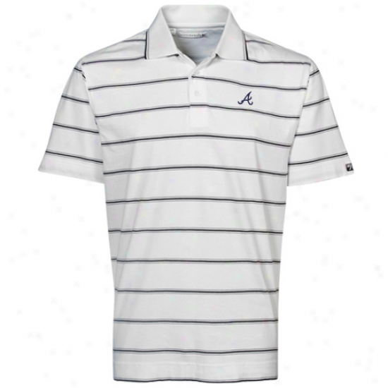 Cutter & Buck Atlanta Braves White Griffin Bay Striped Polo