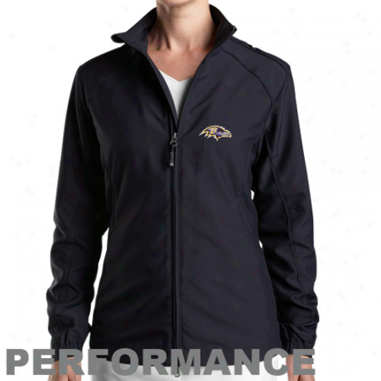 Cutter & Buck Baltimore Ravens Ladies Black Full Zip Performance Windshirt