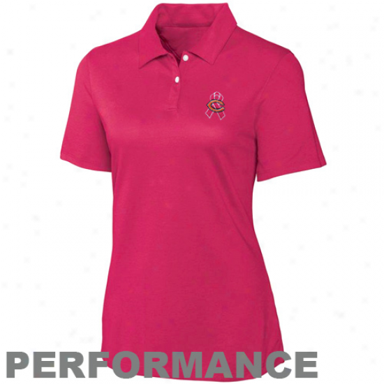 Cutter & Buck Chicago Bears Ladies Pink Breast Cancer Awareness Elliot Bay Perforance Polo